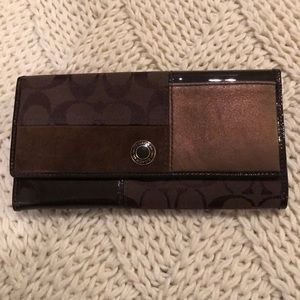 Coach brown  suede and leather long wallet